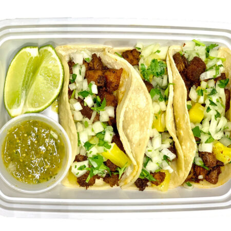 al pastor tacos from Valley Meal Prep in Stockton, Modesto and Turlock